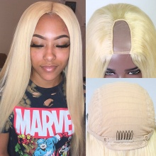 Blonde Color 613 U Part Wigs 300% Density Straight Virgin Human Hair