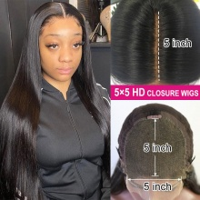 HD Swiss Lace 5X5 Closure Wig 180% Density Human hair With Baby Hair Slightly Pre Plucked Natural Color