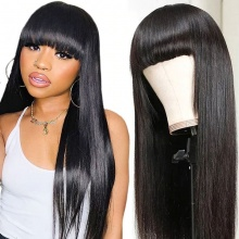 300% Density Full Machine Made Wigs With Bangs Human Hair Wigs 100% Human Hair (Not Have Lace)