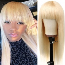 300% Density 613 Color Full Machine Made Wigs With Bangs Human Hair Wigs 100% Human Hair (Not Have Lace)