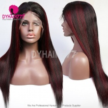 1B/99J High Light Lace Frontal Wigs Straight Hair 130% Density With Natural Hairline