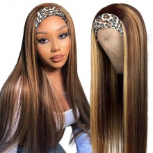 130% Density Color 4/27 Headband Scarf Wigs Human Hair Wigs 100% Human Hair (Not Have Lace)